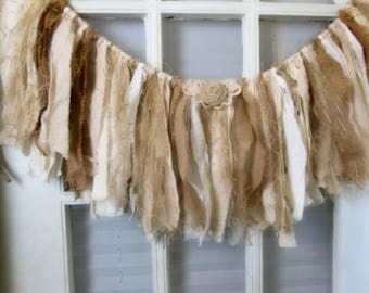 fabric and burlap garland,Rustic wedding, shabby Wedding garland, home decor, rag bunting, fabric banner, OOAK