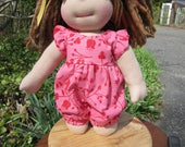 Doll Clothes Girl, Hand Made One-piece Jumper, fits 12 inch Waldorf style dolls for April H. ONLY