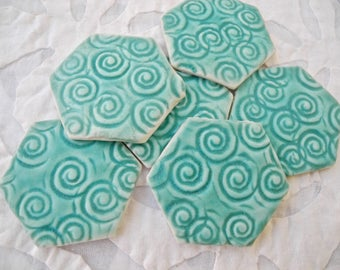 Turquoise Mosaic Tile, Hexagon Tile, Ceramic Tile, textured tiles, mosaic supply, backsplash supply, ceramic craft supply, porcelain tile