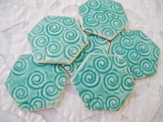 Artisan Ceramic Tiles, Turquoise Mosaic Tile, Hexagon, textured tile, jewelry supply, backsplash, ceramic craft supply, porcelain tile