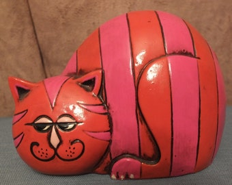 Pride Creations 1960's Paper Mache Striped Cheshire Cat Coin Bank Groovy Cat Bank
