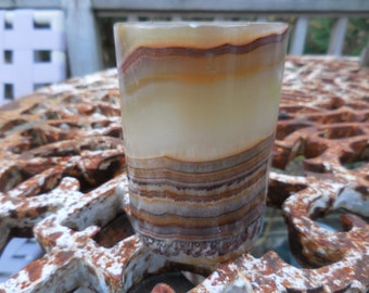 Vintage 1970s to 1980s Brown/Beige Layered Marble Tea Light Holder Rock Polished Layered Round Small Stone