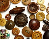 The Wood Button Assortment: A Variety Mix of 50 Vintage to Contemporary Wooden Buttons