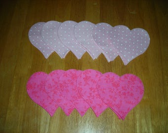 110 - Die Cut Heart Fabric Pieces - 4""