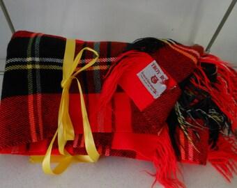 TROY Vintage Wool Blanket Throw Red Black Plaid