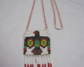 Vintage Red and White Beaded Coin Purse Necklace/ Native American Beaded Necklace
