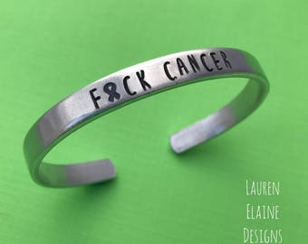 F Cancer with Awareness Ribbon- Hand Stamped Cuff Bracelet- You Choose the Font- In Aluminum, Copper, Brass, Sterling Silver