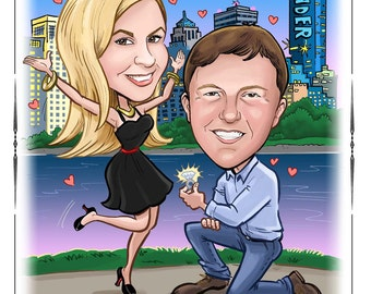 Cute funny wedding save the date magnet, postcard, wedding invitations. Custom caricature wedding portrait invites.
