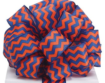 """Wired Ribbon, 1.5"""" by the yard, Blue/Orange Chevron Ribbon~ Use  for Wreaths~Wedding~Arrangement-Scrap-booking~Beautiful colors, Any Season"""