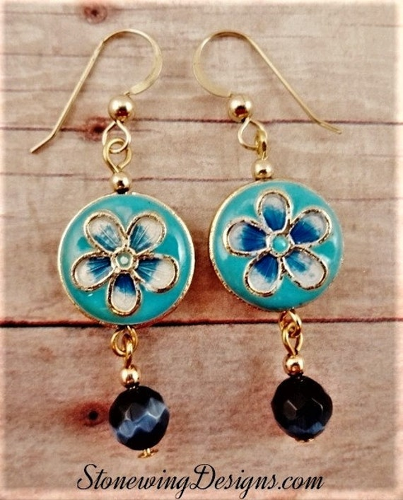 Blue and White Cloisonne Flower Earrings