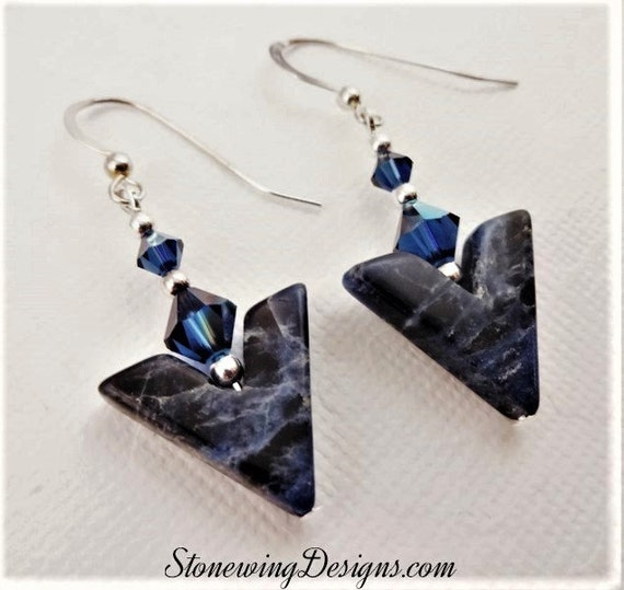 Sodalite V and Swarovski Crystal Earrings