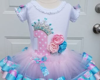 girls first birthday princess crown tiara and cupcake 3D roses tutu set in pink blue and silver