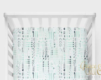 Fitted Crib Sheet -Abstract Geometric Mint and Grey // Neutral nursery decor