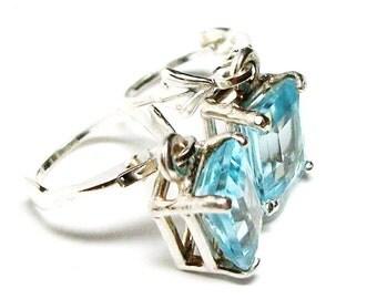 """Topaz earrings, ice blue topaz,  topaz lever backs,  emerald cut, ice blue earrings, topaz dangle earrings,  """"Baby Love"""""""