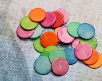 3 Colored Bone Circle Token Embellishment