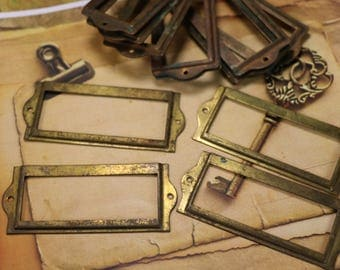 1 Vintage Brass Label Holder