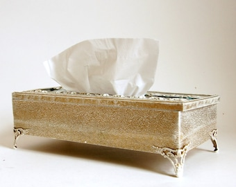 Kleenex Box Cover, Vintage Tissue Holder, French Country Decor, Whitewashed Gold, French Provincial