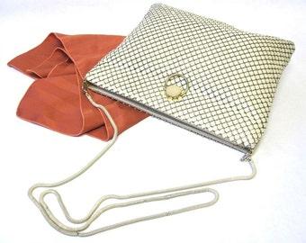 Vintage Ivory Mesh Purse Chain Maille Off White Handbag