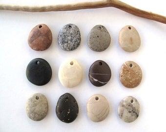 Rock Pendants Natural Stone Beads Mediterranean DIY Jewelry Beach Stone Beads Drilled River Stones Pebble Pendants SWEET PENDANTS 25 mm