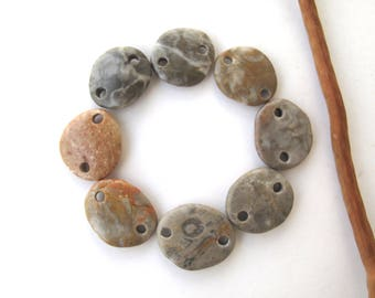 Rock Links Mediterranean Beach Stone Jewelry Links River Rock Beach Pebble Diy Jewelry Beads River Stone Connectors EARTHY LINKS 16-20 mm