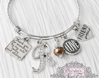 Best Friend Gift -Thank you for standing by my side- Friend Bracelet-Initial Bridal Jewelry-Expandable Bangle-Charm Bracelet, Love Charm