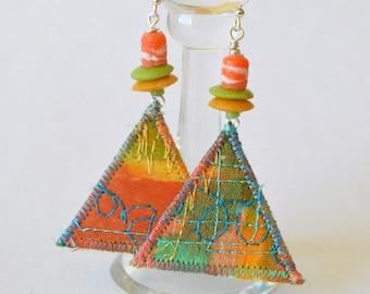 boho hippie dangle earrings, handpainted silk jewellery, hippie jewellery, geometric, rainbow colours, triangle earrings, recycled glass