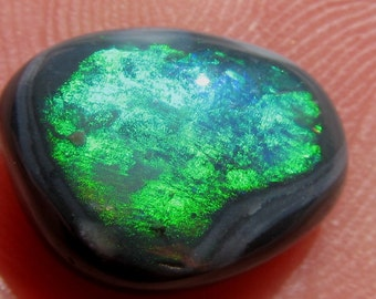 14 x 13 mm Australian Solid Black Opal Cabochon -  6.0 ct