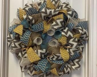 Burlap Wreath Turquoise Gray Yellow Burlap Wreath Front Door Decor
