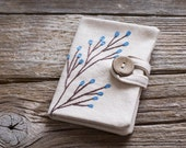 Credit Card Wallet with Blossom Tree, Blue Floral Card Holder, Hand Embroidered Organizer
