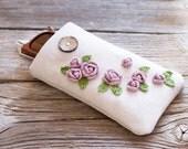 Pink Roses Sunglasses Case, Floral Eyeglasses Case, Cottage Chic Eyewear