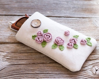 Pink Roses Sunglasses Case, Floral Eyeglasses Case, Cottage Chic Eyewear