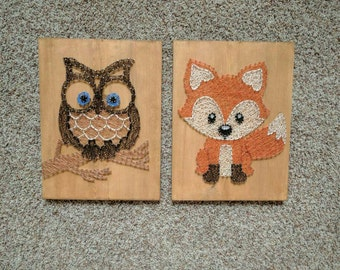 Made to order fox and owl string art