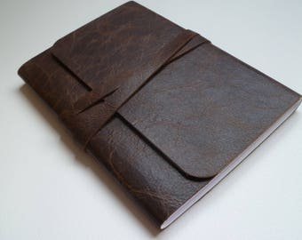 Travel Journal Leather Journal Leather Notebook Leather book. Dark Brown with an Antique Finish and Light Brown Undertones.