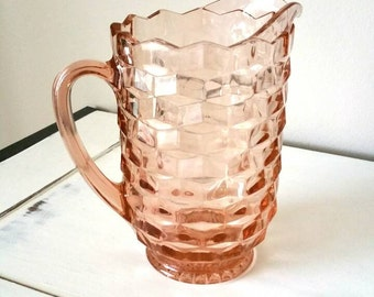 Pitcher Vintage Pitcher Pink Pitcher Vintage Pink Pitcher Indiana Glass Iced Tea Pitcher Water Pitcher Vintage Serving Farmhouse
