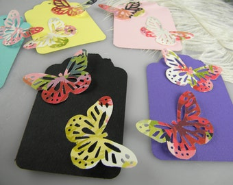 15 Butterfly Gift Tags - Boho Chic Wedding or Birthday Party Gift Tags - Assorted Colors - set of 15 tags - Pretty Packaging Idea - Unique