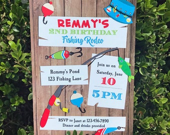 Fishing Invitation Printable or Printed with FREE SHIPPING - Fishing Rodeo Collection