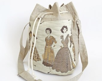 Shoulder Bag Vintage Fashion, Drawstring Crossbody Bucket Bag Gift for Her