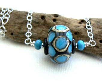 Deep Blue Sea Pendant,Dark Blue Hollow Lampwork Pendant on a Chunky Sterling Silver Chain,OOAK