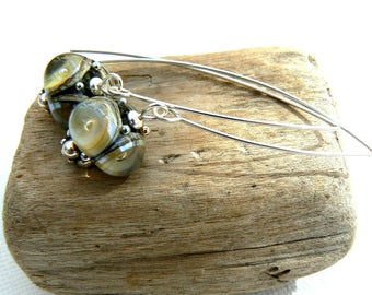 Handmade Light Olive Green Lampwork Earrings,Lampwork and Sterling Silver Earrings