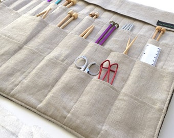 Large Knitting Needle Case/Roll/Organizer in Beautiful Tapestry and Classic Linen          (item K109)