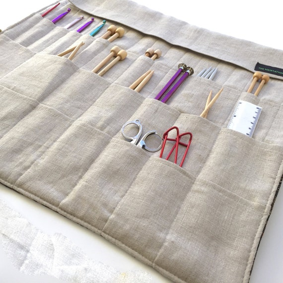 Knitting Needle Case Nz : Large knitting needle case roll organizer in beautiful