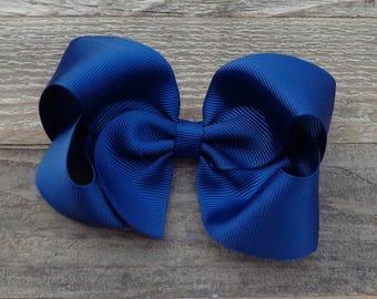 Boutique Hair Bow~Navy Blue Hair Bow~Medium/Large Hair Bows~Solid Colored Hair Bows~Boutique Hair Bows~Basic Boutique Bows~Simple Hair Bows