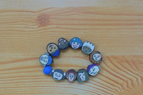 Faces cuff,girls cuff,faces bracelet,kawaii cuff,kids bracelet,face bracelet,caricature bracelet, children bracelet,elastic bracelet