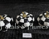 Lot #14  Black White Checked Pumpkin-Set of 3  Hand Painted-Fall-Halloween Decoration-Centerpiece-SEE Photos for measurements-READY to SHIP