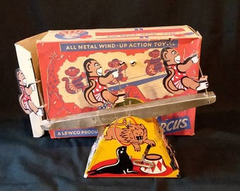 Vintage Tin Wind Up Circus Monkey Mechanical Toy On Seesaw Toy With Original Box