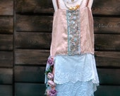 SALE  Girls size 5 years 1920s flapper Gatsby dress in dusty peach with silk roses. Rustic blue flower girl dress.