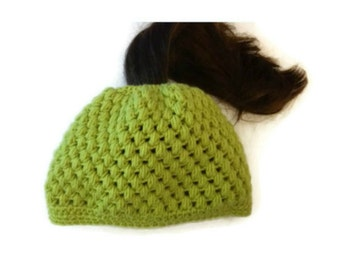 Ponytail Puff Stitch Hat Digital PDF Crochet Pattern Is not a finished product. It is a PDF Pattern with instructions