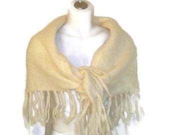 1960s Mohair Shawl Cream Mohair Shawl Triangle Shawl Off White Mohair Wrap Evening Shawl Winter Wrap Ecru Wool Shawl 60s Shawl with Fringe