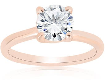 Rose Gold Solitaire Diamond Engagement Ring 1 Carat G/SI Clarity Enhanced Round Brilliant Cut 14K Gold Womens
