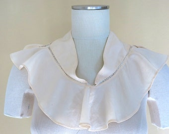 1920-30s Collar Silk Crepe Over the Shoulders Fagotting Stitching 583b